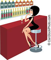 Young woman sits at a bar counter