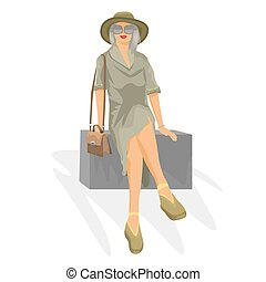 Young woman sits on box. Travel concept for your design. Vector illustration.
