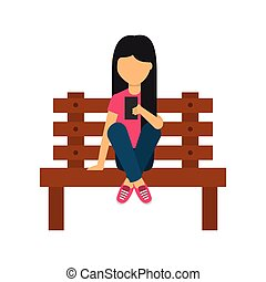 young woman sitting on bench with smartphone