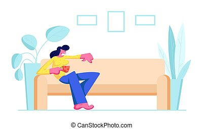 Young Woman Sitting on Comfortable Couch with Cup of Tea or Coffee in Hand at Home. Female Character Visiting Friend, Relaxing after Work, Having Leisure, Sparetime, Cartoon Flat Vector Illustration
