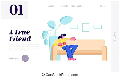 Young Woman Sitting on Couch with Cup in Hand at Home Relaxing after Work, Having Weekend Leisure, Sparetime, Visiting Friend Website Landing Page, Web Page. Cartoon Flat Vector Illustration, Banner
