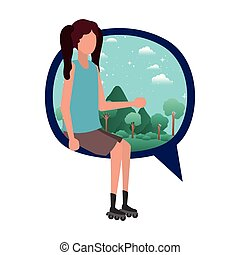 young woman sitting on speech bubble with landscape