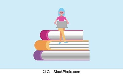 woman sitting on stacked books