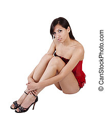 Young Woman Sitting White Background Red Corset