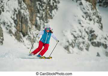 Young woman skier