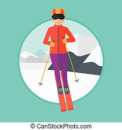 Young woman skiing.