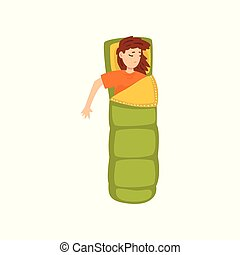 Young woman sleeping in a sleeping bag, view from above vector Illustration on a white background