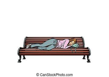 young woman sleeping on a bench. homeless. Pop art retro...
