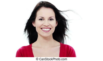 Young woman smiling and looking right