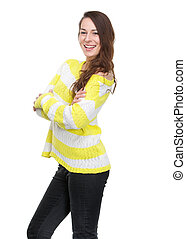 Young woman smiling with arms crossed