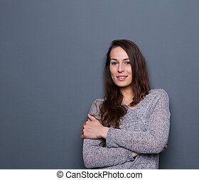 Young woman smiling with cardigan