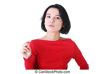 Young woman smoking electronic cigarette -ecigarette - Young...