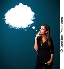 Young woman smoking unhealthy cigarette with dense smoke -...