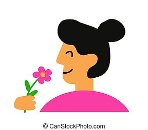Young woman sniffs a flower. Cartoon. Vector