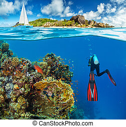 Young woman snorkling next to tropical island. Anchoring...