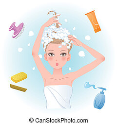 Young woman soaping her hair with body/hair care products....