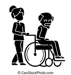 young woman, social worker strolling with elder man in wheelchair  icon, vector illustration, sign on isolated background