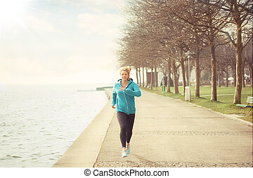 Young woman sport running