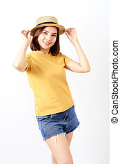 Young Woman Standing Against White Background