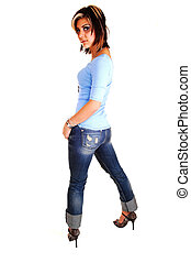 Young woman standing and looking back. - A pretty tall young...