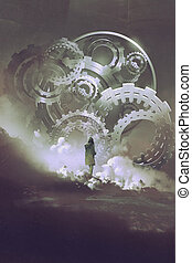 woman standing in front of big gears and cogs - young woman...