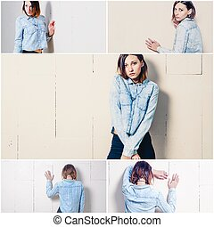 Young woman standing in front of wall street casual fashion look, collage of toned photos