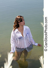 Young Woman Standing in River White Shirt