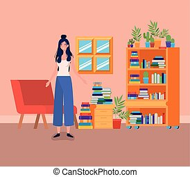 young woman standing in the library room