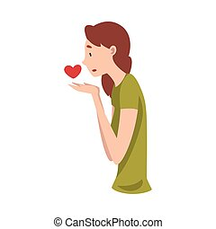 Young Woman Standing Sadly With Heart Vector Illustration