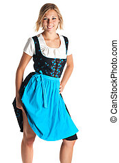 young woman standing with a bavarian dress