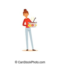 Young woman standing with a pot of soup, housewife girl cooking food in the kitchen flat vector Illustration