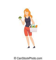 Young woman standing with bag full of vegetables, girl doing shopping at the grocery shop vector Illustration on a white background