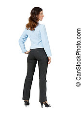 woman standing with his back on a white background