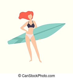 Young woman standing with surfboard, young woman enjoying summer vacation on the sea or ocean vector Illustration on a white background