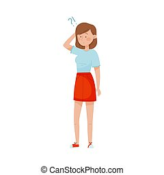Young Woman Standing with Thoughtful Expression on Her Face and Question Mark Vector Illustration