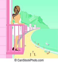 Young woman stands on balcony of hotel looking at ocean coast with people on beach, mountains and buildings along road