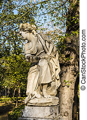 Woman Statue in Villa Giulia, Palermo, Italy - Young Woman...