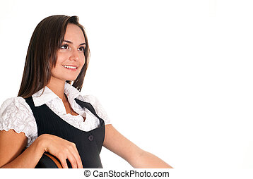 young woman stitting on a white background