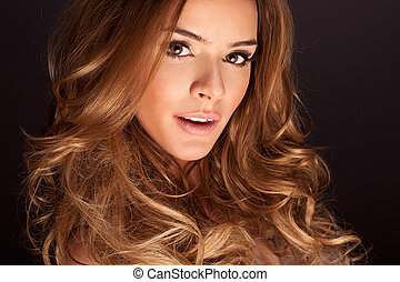 young woman - Portrait of a young woman with beautiful hair...