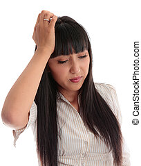 Young woman stressed, overworked or with headache