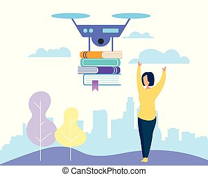 Young Woman Stretching Arms to Drone with Books - ...
