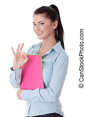 Young woman student gesturing.