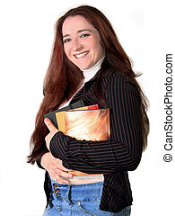 Young Woman Student - Happy young woman carrying books