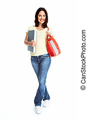 Young woman student with the book.