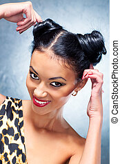 Young woman studio fashion portrait