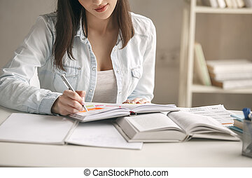 Young woman study at home alone education