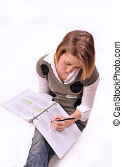 young woman studying - young college age lady studying