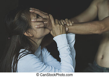 Young woman subjecting to violence at home, Young woman raped in the home, Woman sexual abuse, Women domestic violence and abuse.
