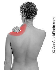 Young woman suffering from pain in shoulder. Isolated on white. Black and white
