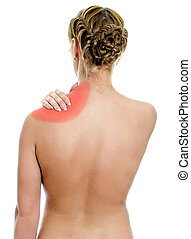 Young woman suffering from pain in shoulder. Isolated on white.